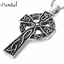 MENDEL Mens Stainless Steel Irish Celtic Knot Cross Pendant Necklace Silver Men