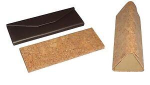 Brillenetui Faltetui Kork und Titan-Look Miniformat Faltbar mini Magnetverschlus