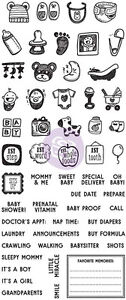 Prima Frank Garcia Clear Acrylic Stamps BABY theme 591588