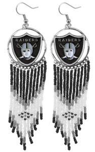 Oakland Las Vegas Raiders Dreamcatcher J Hook Earrings NFL LICENSED Hard to Find