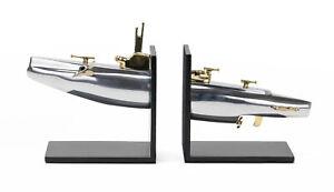 Mid Century Modern Silver Gold Submarine Book End Set Nautical Sea WWII Design