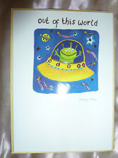 Greeting Card Out Of This World blank inside Happy Alien humour space astronomy