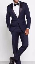 Men Blue Designer Grooms Wedding Tuxedo Formal Dinner Suits Blazer Coat Pant