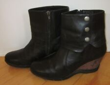 Sanita Wms Black Leather Ankle Wedge Boots Maddox Boots 39 US 8 - 8.5