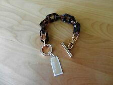 Michael Kors Jeweled Block Tortoise Print Link Toggle Bracelet MSRP $125