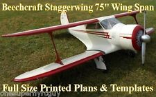 "D17 Staggerwing 1/5 Scale 75"" WS RC Airplane Full Size PRINTED Plans & Templates"