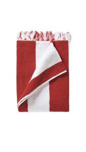Serena & Lily Mallorca Beach Towel White, Red Stripe New In Plastic 40x70