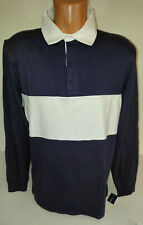 Club Room Colorblocked Rugby Shirt Navy Blue and White  Mens Size Large L