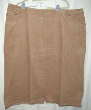 Woman Within tan corduroy midi skirt, pockets, back slit, Plus size 28W