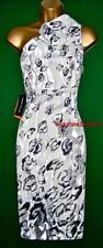 New KAREN MILLEN Uk14 16 White Grey SNOW LEOPARD Animal Print One Shoulder Dress