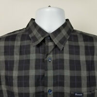 Faconnable Club Mens Black Gray Check Plaid Dress Button Shirt Size Large L