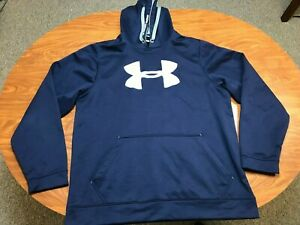 MENS USED UNDER ARMOUR NAVY BLUE BIG LOGO ATHLETIC POLYESTER HOODIE SIZE XL