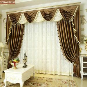 luxury thick Italian velvet brown cloth blackout curtain valance drapes B624