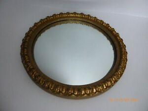 Vintage ornate gilt convex fish eye wall mirror 29.5cm