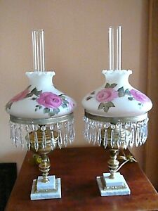"""SIGNED Pair Vintage Antique Victorian Style Red Roses GWTW Hurricane Lamps 28"""""""