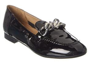 Donald Pliner Black Nolin Chain Loafer Flats Shoes Women's Size 9 New