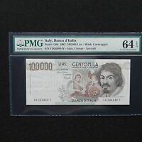 1983 Italy 100.000 Lire, Pick # 110b, PMG 64 EPQ Choice Uncirculated