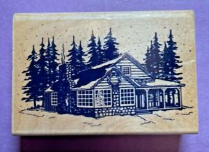Inkadinkado Rubber Stamp Wood Mount Cabin Cottage Forest Pine Trees Wreath 4930