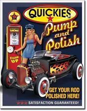 QUICKIES Pump & Polish METAL TIN SIGN New Vintage Style REPAIR SHOP Garage Decor