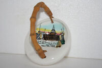 Vtg Michigan Souvenir Art Pottery Sault Ste. Marie Soo Locks Ashtray w Handle