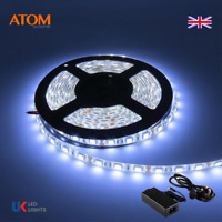 ATOM 5M 5050 SMD 300 LED White Light IP65 Waterproof 12V DC + UK Adapter