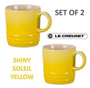 New Le Creuset Stoneware Set of 2 Coffee Mug 12 oz, 350 ml Shiny Soleil Yellow