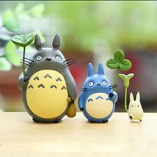3pc Set My Neighbor Totoro Mini Cat Holding Leaves Fairy Gardens Figure Toys