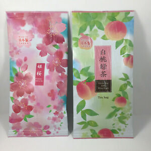 Set of 2 PACK Japanese TA-FU Premium Green Tea Bags Cherry & Peach Made in Japan