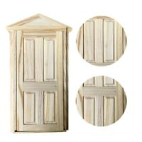 1:12 Scale Unpainted Dollhouse Miniature Furniture Wooden Window Door Ornament
