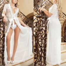Sexy Lace Lingerie Dress Underwear Long Gown Sleepwear Nightwear Robe+ G-string