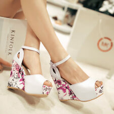 Womens Floral Wedge High Heel Open Toe Sandals Platform Pumps Casual Strap Shoes