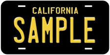 Black California Any Name Novelty Car License Plate