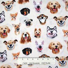 Dog Fabric - Pet Selfies Faces on Cream - Elizabeth's Studio YARD