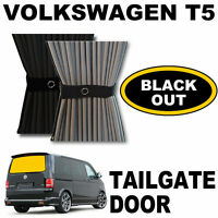 BLACK OUT - VW T5 Curtain Kit  - For Tailgate Door WITH WIPER Campervan Curtains