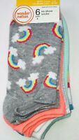 Wonder Nation Girls No Show Socks 6 pair Size 4-10 Rainbow Colors