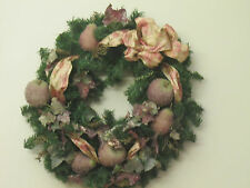 Fall Winter Elegant Christmas Holiday Wreath 24 inch Pears Apples Ribbon