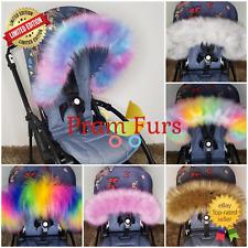 Fur Pram Hood Trim Stroller ALL MODEL Carry Cot Car Seat Bug Seat Furs Winter UK