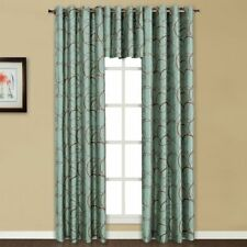 """United Curtain Sinclair Embroidered Grommet Curtain Panel Blue Brown 54"""" x 84"""""""