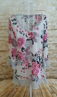 PER UNA Women's White & Pink/Grey Floral Spotty Print 3/4 Sleeve Top Size 10
