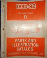 1990 thru 1992 GEO Chevrolet Parts & Illustration Catalog Manual R Body Storm