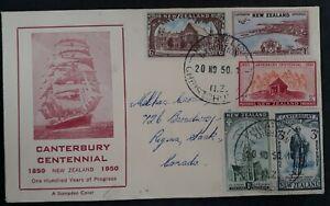 1950 New Zealand Canterbury Centennial FDC ties 5 stamps canc Christchurch
