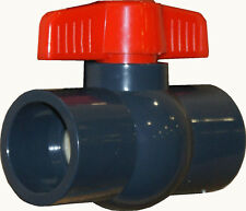 NEW SCH 80 PVC 2 INCH COMPACT BALL VALVE GREY SOCKET CONNECTION NEW SCH 80 PVC