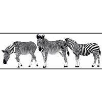 Zebra Walking Through White Wallpaper Border KW7765BD