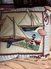 Set 2~Lighthouse 15 X 15� Tapestry Decor Pillow~Lighthouse Sailboat Shells