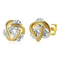 Women's Ear Stud Earrings 18K Yellow Gold Filled Unique Fashion Jewelry