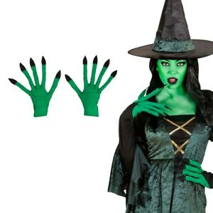 Hexen Handschuhe Hexenhandschuhe grün Hexenhände Halloween Monster Hände Alien