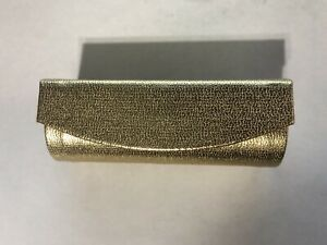 GOLD LEATHER LIPSTICK CASE WITH MIRROR