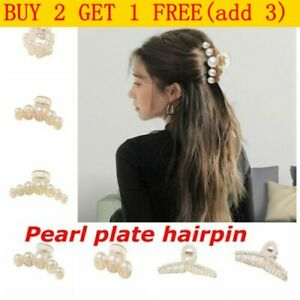 Ladies Large Hair Claw Clamps Clips Pearl Plate Hairpin Clamp Hair Accessory UK