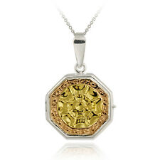 Medallion Locket Pendant Sterling Silver Tri-Color