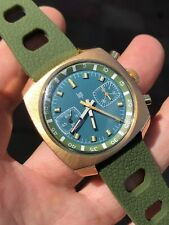Cool Vintage Lip Green Dial Chronograph Mens Watch Valjoux 7733 38mm